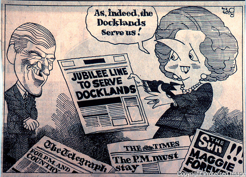 London: Docklands Trog cartoon, OBSERVER, 11 Nov. '89.