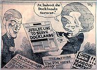 London: Docklands Trog cartoon, OBSERVER, 11 Nov. '89.