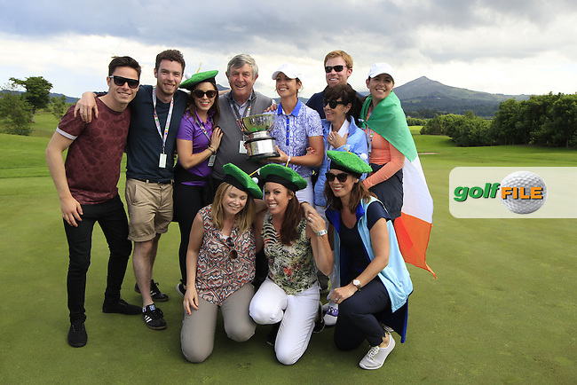 Maria Dunne and Her husband and family with the Curtis Cup after the Sunday Singles matches at the 2016 Curtis cup from Dun Laoghaire Golf Club, Ballyman Rd, Enniskerry, Co. Wicklow, Ireland. 12/06/2016.<br /> Picture Fran Caffrey / Golffile.ie<br /> <br /> All photo usage must carry mandatory copyright credit (&copy; Golffile | Fran Caffrey)