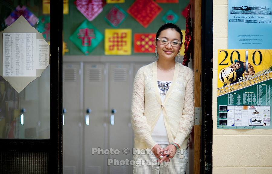 "Yue Zheng, (cq) a Chinese english teacher is working as a ""guest teacher"" at Macarthur High School in Lawton, Oklahoma, April 29, 2010.  Zheng is nearing the end of her two years teaching in the US and soon will return to her home in Pingdingshan, China. ..PHOTO/ MATT NAGER"