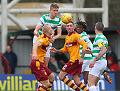 18th March 2018, Fir Park, Motherwell, Scotland; Scottish Premiership football, Motherwell versus Celtic;  Kris Ajer outjumps Curtis Main to head the ball away