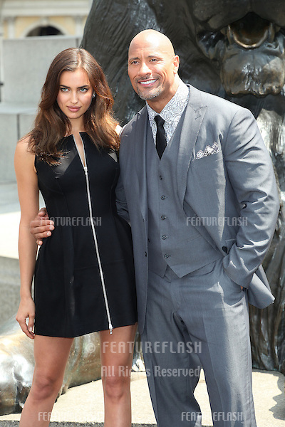 Dwayne Johnson (The Rock), and Irina Shayk attending at photocell for Hercules, at Trafalgar Square, London. 02/07/2014 Picture by: Alexandra Glen / Featureflash