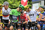 Andre Greipel (GER) Lotto-Soudal jokes with Green Jersey Vasil Kiryienka (BLR) and Chris Froome (GBR) Team Sky lined up for the ceremonial start of Stage 2 of the 104th edition of the Tour de France 2017, running 203.5km from Dusseldorf, Germany to Liege, Belgium. 2nd July 2017.<br /> Picture: Eoin Clarke | Cyclefile<br /> <br /> <br /> All photos usage must carry mandatory copyright credit (&copy; Cyclefile | Eoin Clarke)