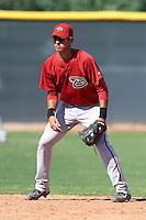 Arizona Diamondbacks minor league infielder Joe Munoz #37 during an instructional league game against the Los Angeles Angels at the Tempe Diablo Minor League Complex on October 1, 2012 in Tempe, Arizona.  (Mike Janes/Four Seam Images)