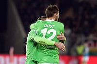 Torjubel um Bas Dost (Wolfsburg) beim 0:2