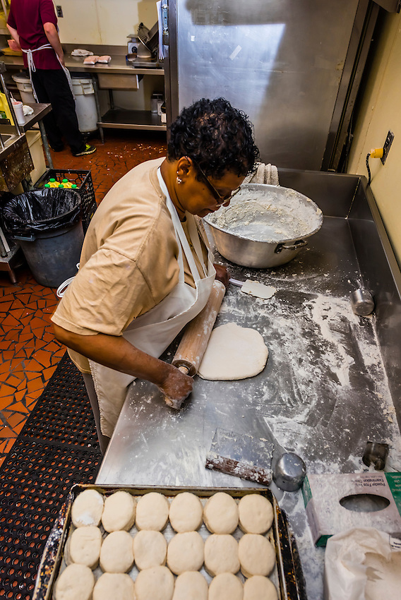 Cook making biscuits, The Roanoker Restaurant, Roanoke, Virginia USA.