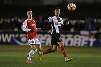 Stephen Jordan of Chorley plays the ball past Ashley Hunter of Fleetwood Town during Chorley vs Fleetwood Town, Emirates FA Cup Football at Victory Park on 6th November 2017