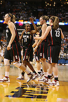 6 April 2008: Stanford Cardinal (L-R) Kayla Pedersen, Candice Wiggins, JJ Hones, Jayne Appel, and Jeanette Pohlen during Stanford's 82-73 win against the Connecticut Huskies in the 2008 NCAA Division I Women's Basketball Final Four semifinal game at the St. Pete Times Forum Arena in Tampa Bay, FL.