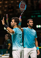 Rotterdam, The Netherlands, 14 Februari 2019, ABNAMRO World Tennis Tournament, Ahoy,<br /> Jean-Julien Rojer (NED) / Horia Tecau (ROU) vs Wesley Koolhof (NED) / Jurgen Melzer (AUT),<br /> Photo: www.tennisimages.com/Henk Koster