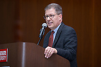 Dan Moushon, Vice President of the Burlington Royals, speaks to the crowd after accepting the 2017 Board of Directors Special Achievement Award at the 67th Annual Baseball Banquet put on by the Raleigh Hot Stove League at the Jane S. McKimmon Conference Center on January 24, 2017 in Raleigh, North Carolina.  (Brian Westerholt/Four Seam Images)