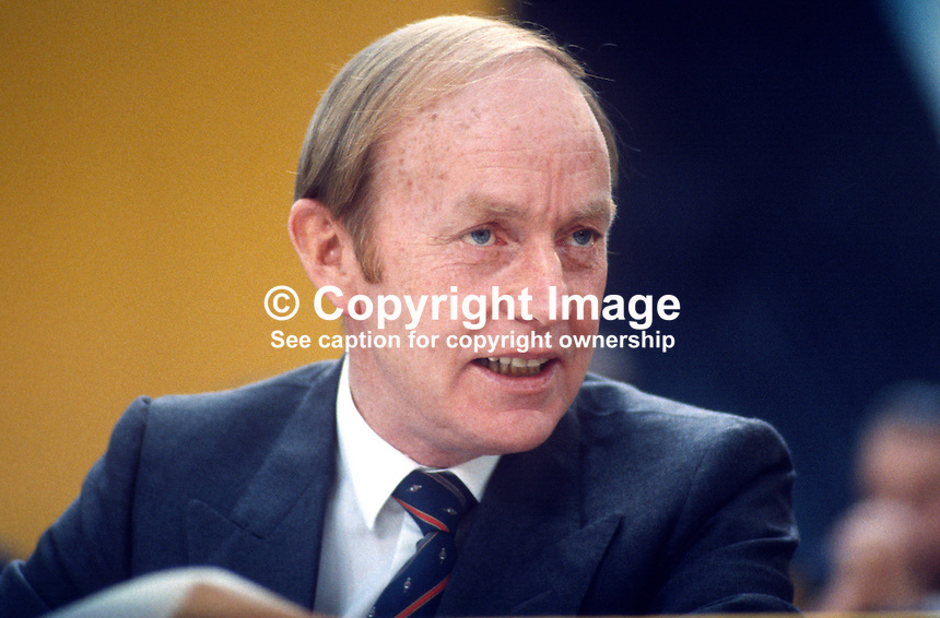 Michael O'Kennedy, TD, finance spokesman, Fianna Fail, opposition party, Rep of Ireland, photographed at April 1984 Ard Fheis i.e. party conference, 19840048MOK1..Copyright Image from Victor Patterson, 54 Dorchester Park, Belfast, UK, BT9 6RJ..Tel: +44 28 9066 1296.Mob: +44 7802 353836.Voicemail +44 20 8816 7153.Skype: victorpattersonbelfast.Email: victorpatterson@me.com.Email: victorpatterson@ireland.com (back-up)..IMPORTANT: If you wish to use this image or any other of my images please go to www.victorpatterson.com and click on the Terms & Conditions. Then contact me by email or phone with the reference number(s) of the image(s) concerned.