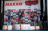 Valentín (1), Larrañaga (2) and Arcarons (3), MX2 podium at Spanish Motocross Championship at Albaida circuit (Spain), 22-23 February 2014