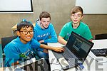 Javkhlan Kelly (Tralee), Oisin Duggan (Ballyferriter) and Sean Galvin (Listowel) at the MEGA DOJO Free Day of Coding in the I T Tralee on Saturday.