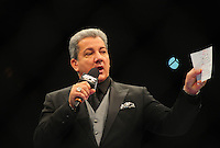 Oct. 29, 2011; Las Vegas, NV, USA; UFC announcer Bruce Buffer during UFC 137 at the Mandalay Bay event center. Mandatory Credit: Mark J. Rebilas-