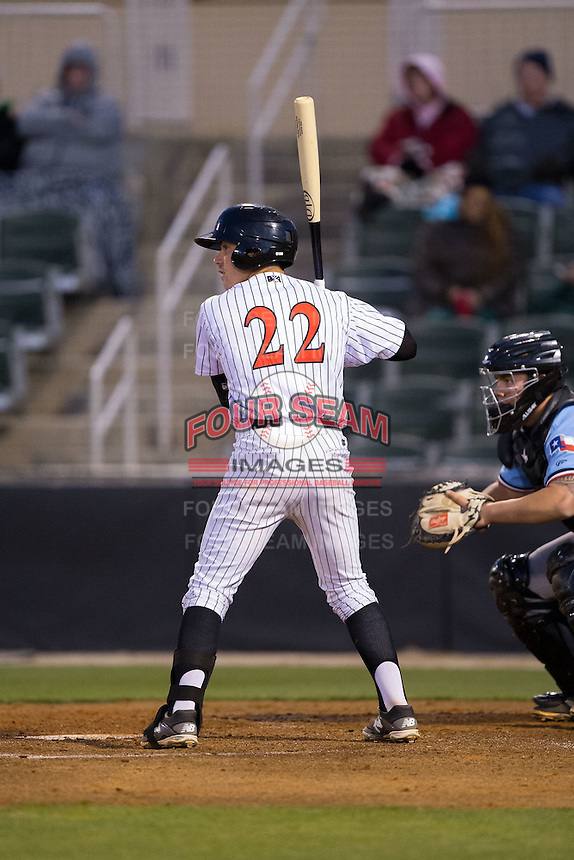 Daniel Mendick (22) of the Kannapolis Intimidators at bat against the Hickory Crawdads at Kannapolis Intimidators Stadium on April 9, 2016 in Kannapolis, North Carolina.  The Crawdads defeated the Intimidators 6-1 in 10 innings.  (Brian Westerholt/Four Seam Images)