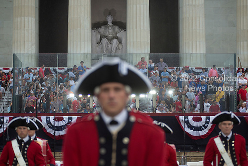 Crowds gather in a stormy Washington D.C. for United States President Donald J. Trump's Salute to America on July 4, 2019.<br /> <br /> Credit: Stefani Reynolds / CNP