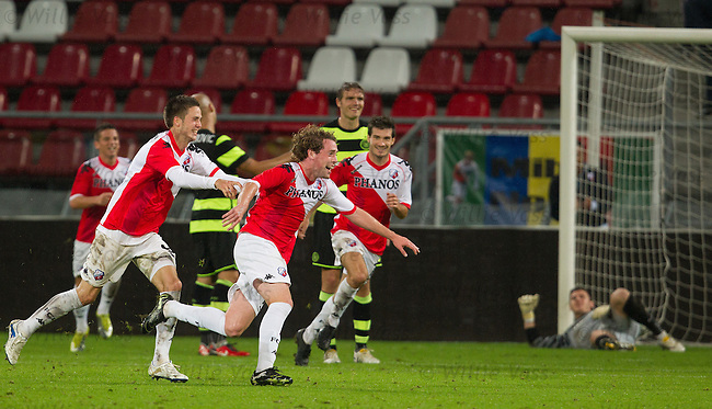 Barry Maguire celebrates goal no 4 for Utrecht