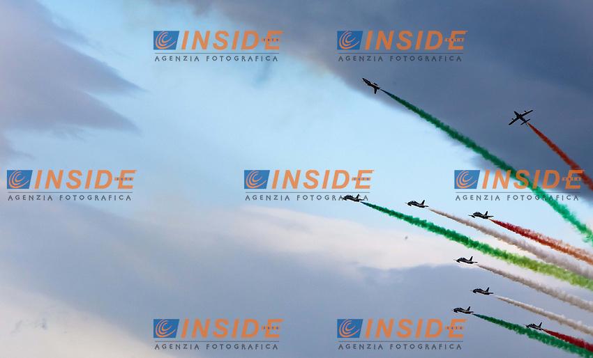 """01.07.2011, Air Base Hinterstoisser in Zeltweg, Austria.Esibizione della pattuglia acrobatica delle Freccie Tricolori durante la manifestazione """"Airpower 10"""" air show .Foto J. Feichter/Expa/Insidefoto"""