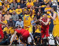 Richard Solomon of California rebounds the ball during the game against Arizona at Haas Pavilion in Berkeley, California on February 1st, 2014.  California Golden Bears defeated Arizona Wildcats, 60-58.