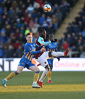 West Ham United's Arthur Masuaku and Shrewsbury Town's Jon Nolan<br /> <br /> Photographer Rob Newell/CameraSport<br /> <br /> The Emirates FA Cup Third Round - Shrewsbury Town v West Ham United - Sunday 7th January 2018 - New Meadow - Shrewsbury<br />  <br /> World Copyright &copy; 2018 CameraSport. All rights reserved. 43 Linden Ave. Countesthorpe. Leicester. England. LE8 5PG - Tel: +44 (0) 116 277 4147 - admin@camerasport.com - www.camerasport.com