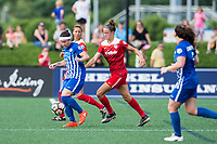 Boston, MA - Saturday July 01, 2017: Tiffany Weimer and Havana Solaun during a regular season National Women's Soccer League (NWSL) match between the Boston Breakers and the Washington Spirit at Jordan Field.