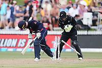 England's Jason Roy is bowled by New Zealand's Mitchell Santner. New Zealand Blackcaps v England. One Day International Cricket. Seddon Park, Hamilton, New Zealand on Sunday 25 February 2018.<br /> <br /> Copyright photo: &copy; Bruce Lim / www.photosport.nz