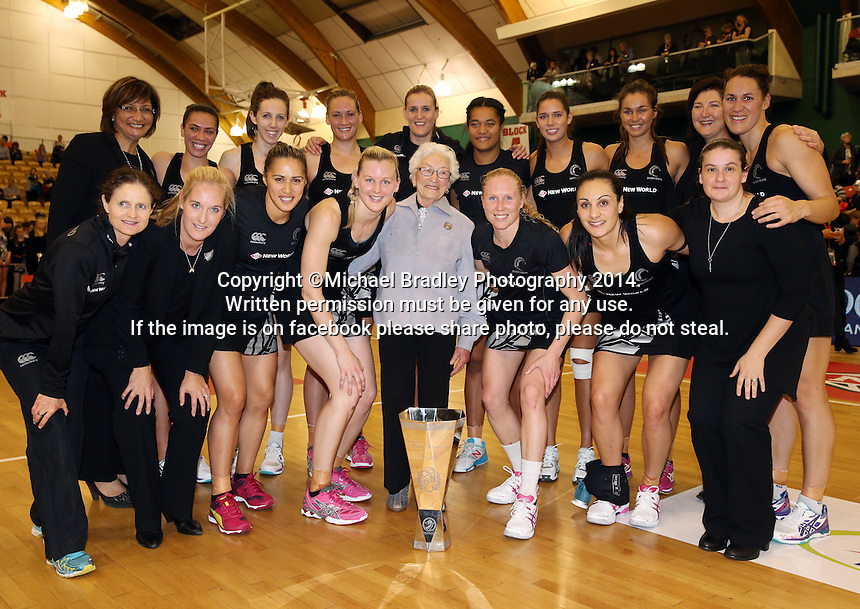 31.10.2014 Silver Ferns celebrate after the Silver Ferns V England netball match played at the Arena Manawatu in Palmerston North. Mandatory Photo Credit ©Michael Bradley.
