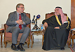 The Rev. Dr. Olav Fykse Tveit (left), the general secretary of the World Council of Churches, talks with the president of the Iraqi Sunni Endowment, Dr. Abdul Al-Lateef Al-Hemyem, during the visit of an international ecumenical delegation to Baghdad, Iraq, on January 21, 2017. The encounter took place at St Gregory the Illuminator Armenian Orthodox Church.