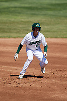Beloit Snappers left fielder Luke Persico (8) leads off second base during a game against the Bowling Green Hot Rods on May 7, 2017 at Pohlman Field in Beloit, Wisconsin.  Bowling Green defeated Beloit 6-2.  (Mike Janes/Four Seam Images)