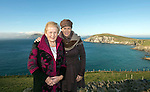 Anna May McHugh and her daughter Anne Marie, who organise the National Plough Championships, pictured at Dun Chaoin overlooking Coomeenole Strand and The Blasket Islands in West Kerry during a fact finding tour of Slea Head as part of the National Tourism Forum which took place in Killarney at the weekend. Over 200 delegates from all over Ireland attend the inaugural event which was addressed by national and international speakers.<br /> Photo: Don MacMonagle<br /> <br /> Repro free photo
