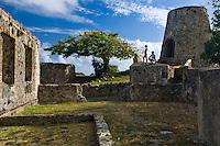 Couple at Annaberg Ruins.Virgin Islands National Park.St. John, US Virgin Islands