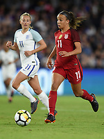 Orlando City, FL - Wednesday March 07, 2018: Mallory Pugh during a 2018 SheBelieves Cup match between the women's national teams of the United States (USA) and England (ENG) at Orlando City Stadium.