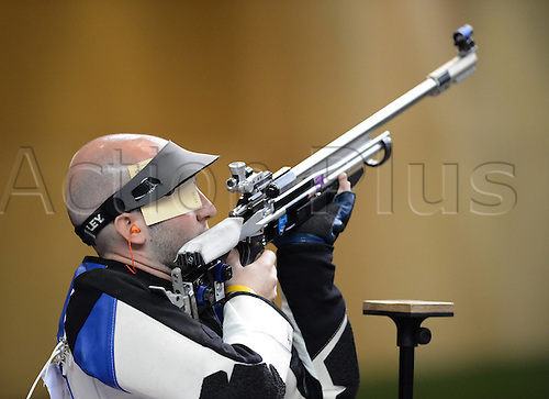 06.08.2012. London, England. Niccolo Campriani of Italy competes in the mens 50m rifle 3  Final of Shooting AT London 2012 Olympic Games  Campriani of Italy Won Gold Medal and Set A New Olympic Record