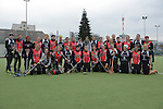 Frankfurt am Main, Germany, March 14: Players of SC 1880 Frankfurt and Duesseldorfer Hirschkuehe pose after the Damen 1. Bundesliga West Lacrosse match between SC 1880 Frankfurt and Duesseldorfer Hirschkuehe on March 14, 2015 at the SC 1880 Frankfurt in Frankfurt am Main, Germany. Final score 20-13 (13-8). (Photo by Dirk Markgraf / www.265-images.com) *** Local caption ***