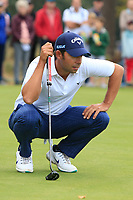 Pablo Larrazabal (ESP) on the 13th green during Round 3 of the Sky Sports British Masters at Walton Heath Golf Club in Tadworth, Surrey, England on Saturday 13th Oct 2018.<br /> Picture:  Thos Caffrey | Golffile