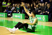7th January 2018, San Pablo Sports Municipal Palace, Seville, Spain; Endesa League Basketball, Real Betis Energia Plus versus FC Barcelona Lassa; Luke Nelson from Betis Plus signals the 3 point net he has scored