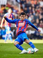 4th January 2020; Mestalla, Valencia, Spain; La Liga Football,Valencia versus Eibar; Takashi Inui of Eibar strikes on goal - Editorial Use