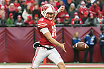 Wisconsin Badgers punter Anthony Lotti (15) punts the ball during an NCAA College Big Ten Conference football game against the Michigan Wolverines Saturday, November 18, 2017, in Madison, Wis. The Badgers won 24-10. (Photo by David Stluka)