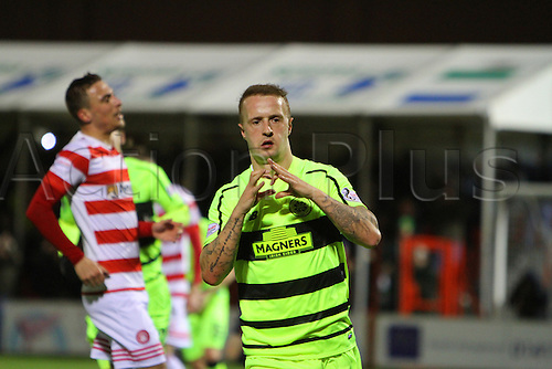 26.02.2016. New Douglas Park, Hamilton, Scotland. Scottish Premier League. Hamilton Academicals versus Celtic. Leigh Griffiths celebrates his goal