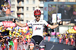 Bauke Mollema (NED) Trek-Segafredo crosses the finish line solo to win Stage 15 of the 104th edition of the Tour de France 2017, running 189.5km from Laissac-Severac l'Eglise to Le Puy-en-Velay, France. 16th July 2017.<br /> Picture: ASO/Pauline Ballet   Cyclefile<br /> <br /> <br /> All photos usage must carry mandatory copyright credit (&copy; Cyclefile   ASO/Pauline Ballet)