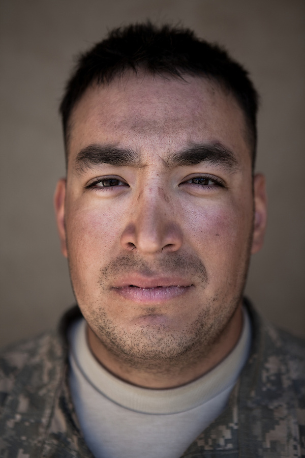 SPC Jose Chavez. Los Angeles, California. 21. Charlie Co. 1st Battalion 12th Infantry Regiment, 4th Infantry Division. Photographed at Combat Outpost JFM in Zhari District, Kandahar, Afghanistan.