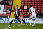 Caolan Lavery of Sheffield Utd tussles with Joe Edwards of Walsall during the Carabao Cup First Round match at Bramall Lane Stadium, Sheffield. Picture date: August 9th 2017. Pic credit should read: Simon Bellis/Sportimage