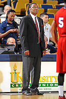 21 January 2012:  FIU Head Coach Isiah Thomas watches his players in the second half as the Florida Atlantic University Owls defeated the FIU Golden Panthers, 66-64, at the U.S. Century Bank Arena in Miami, Florida.