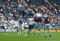 Burnley's James Tarkowski gets a header on goal<br /> <br /> Photographer Mick Walker/CameraSport<br /> <br /> Football Pre-Season Friendly - Preston North End  v Burnley FC  - Monday 23st July 2018 - Deepdale  - Preston<br /> <br /> World Copyright &copy; 2018 CameraSport. All rights reserved. 43 Linden Ave. Countesthorpe. Leicester. England. LE8 5PG - Tel: +44 (0) 116 277 4147 - admin@camerasport.com - www.camerasport.com