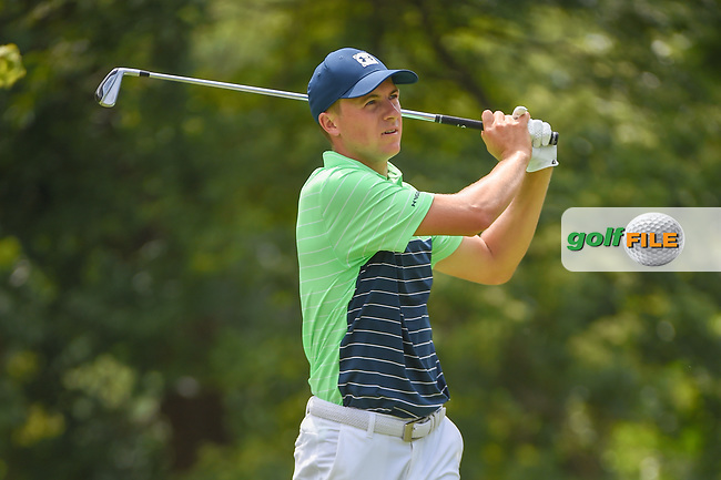 Jordan Spieth (USA) watches his tee shot on 2 during 1st round of the 100th PGA Championship at Bellerive Country Club, St. Louis, Missouri. 8/9/2018.<br /> Picture: Golffile | Ken Murray<br /> <br /> All photo usage must carry mandatory copyright credit (© Golffile | Ken Murray)