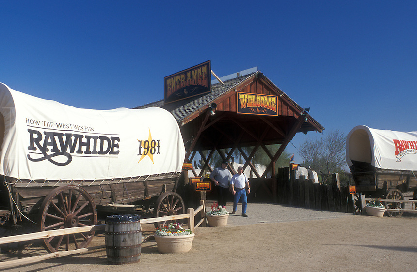 western theme park, Scottsdale, Arizona, Rawhide, AZ, Covered wagons at the entrance to Rawhide a 1880's re-creation of a Western Town in Scottsdale.