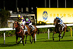 Jockey #6 Karis Teetan (L) riding Noble Delight leads race 4 during Hong Kong Racing at Happy Valley Racecourse on July 04, 2018 in Hong Kong, Hong Kong. Photo by Marcio Rodrigo Machado / Power Sport Images