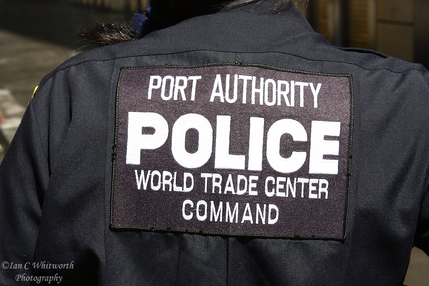At Ground Zero, a view of the back crest of a Port Authority Policewoman