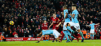 Manchester City's Sergio Aguero goes close with a late chance to equalise <br /> <br /> Photographer Alex Dodd/CameraSport<br /> <br /> The Premier League - Liverpool v Manchester City - Sunday 14th January 2018 - Anfield - Liverpool<br /> <br /> World Copyright &copy; 2018 CameraSport. All rights reserved. 43 Linden Ave. Countesthorpe. Leicester. England. LE8 5PG - Tel: +44 (0) 116 277 4147 - admin@camerasport.com - www.camerasport.com