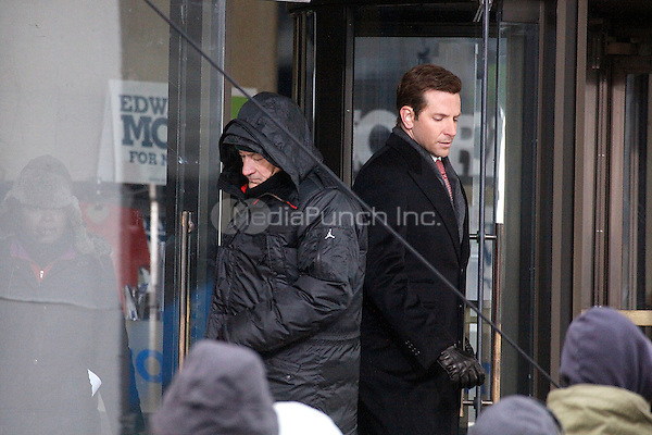Robert DeNiro and Bradly Cooper shooting a make up scene for Limitless in Philadelphia, Pa. on January 22, 2011  © Star Shooter / Mediapunchinc